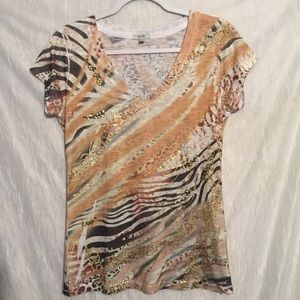 Cache V-neck sequin trimmed tee M